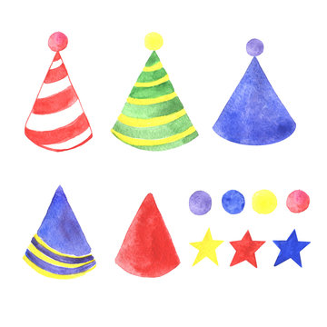 A festive set of watercolor handmade cap, isolated on a white background.