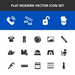 Modern, simple vector icon set with teapot, pants, cutter, concept, graphic, hat, football, t-shirt, photo, strategy, hair, call, drink, king, beverage, clothing, fish, image, phone, japanese icons