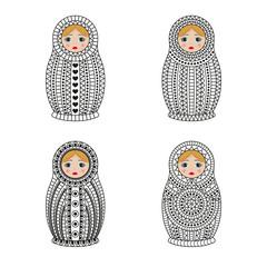 Matrioshka or nesting dolls set isolated on white background. Babushka with ornamental patterns. Vector illustration.