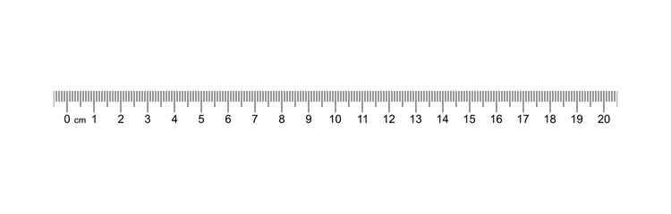 Ruler 20 cm. Measuring tool. Ruler Graduation. Ruler grid 20 and 1 cm. Size indicator units. Metric Centimeter size indicators. Vector AI10
