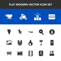 Modern, simple vector icon set with fashion, ice, vacation, knife, cup, record, map, hamburger, sound, image, drink, tractor, voice, farm, field, coffee, style, jacket, agriculture, dessert, pin icons