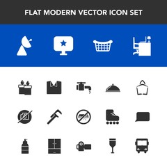 Modern, simple vector icon set with desk, shirt, air, market, table, computer, repair, sign, sink, service, office, star, basket, water, antenna, no, faucet, tool, work, clothing, new, camera,  icons