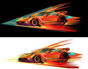 Red sports car racing fairies vector illustration on white and black backgrounds