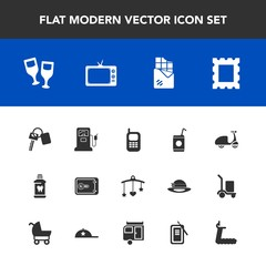 Modern, simple vector icon set with health, care, cold, phone, mobile, auto, old, photo, red, alcohol, money, drink, baby, clean, bar, gasoline, telephone, cycle, automobile, pump, fuel, gas icons
