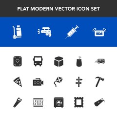 Modern, simple vector icon set with transport, frame, percussion, photo, bus, square, game, dentistry, shipping, road, kite, handle, drill, picture, gun, housework, machine, film, speed, video icons