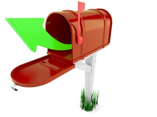 Open mailbox with green arrow