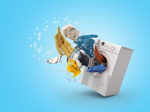 Washing machine and flying clothes on blue background