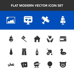 Modern, simple vector icon set with pants, grocery, business, frame, woman, dental, food, travel, drink, ecommerce, elegant, airplane, aircraft, building, wine, dessert, supermarket, female, tie icons