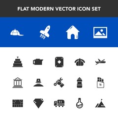 Modern, simple vector icon set with banking, clothing, fish, caffeine, spaceship, coffee, old, builder, money, finance, japan, travel, sweet, play, cafe, flight, cap, drink, airplane, picture icons
