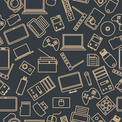 Seamless pattern from a set of computer and gadget icons, vector illustration.