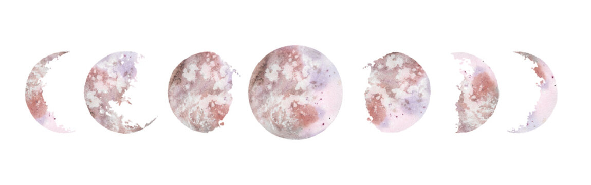 Watercolor illustration: various moon phases isolated on white background. Hand painted modern space design.