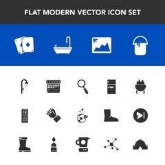 Modern, simple vector icon set with hygiene, play, schedule, astronaut, space, water, time, reminder, shower, bath, freezer, game, day, image, zoom, meat, sign, grill, frame, interior, food icons