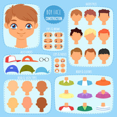Boy face constructor vector kids character and guy avatar creation with head lips eyes illustration set of man-child facial elements construction with children hairstyle isolated on background