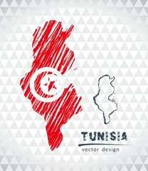 Tunisia vector map with flag inside isolated on a white background. Sketch chalk hand drawn illustration