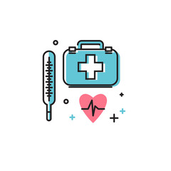 The thermometer and doctor's bag style flat. Vector icon