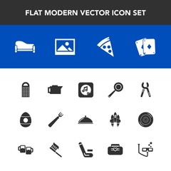 Modern, simple vector icon set with pan, dinner, sofa, kitchen, holiday, coffee, play, mask, frame, lunch, repair, spring, game, music, decoration, industrial, background, couch, food, picture icons