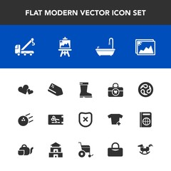 Modern, simple vector icon set with care, pin, style, price, ball, japan, romance, brush, car, leather, health, picture, photo, protection, discount, safety, sale, artist, image, background, mon icons