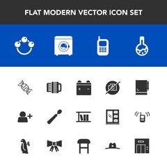 Modern, simple vector icon set with baby, lift, music, toy, tool, office, full, picture, dinner, old, modern, hat, rattle, account, sheriff, technology, entrance, phone, accordion, library, page icons