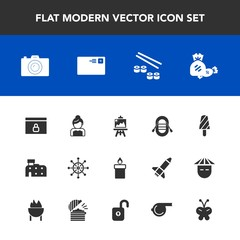 Modern, simple vector icon set with wheel, website, camera, decoration, seafood, sweet, travel, architecture, technology, salmon, artist, sailboat, communication, fish, art, fire, internet, city icons