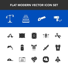 Modern, simple vector icon set with law, salt, bed, justice, food, judge, pigeon, play, pillow, hairdryer, spice, sport, cut, balance, home, fitness, dessert, soft, wildlife, white, weight, love icons