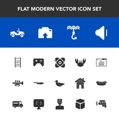 Modern, simple vector icon set with cube, ladder, water, business, upload, trumpet, space, sky, medical, gun, website, bird, cosmos, sound, computer, car, analytics, square, seafood, joystick icons