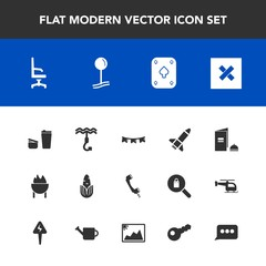 Modern, simple vector icon set with play, message, celebration, communication, photo, hook, chat, book, speech, sign, holiday, drink, interior, closed, brochure, food, vegetable, flag, game, cup icons