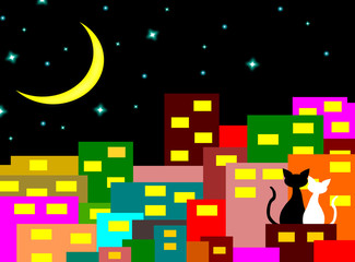 two cats in love sitting on the building with Crescent Moon at night,lover couple,vector.