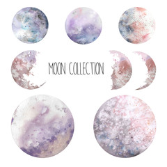 Watercolor cosmic set. Hand drawn moon collection. Various space elements isolated on white background.