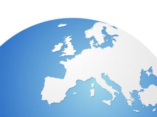 Europe vector map on world globe