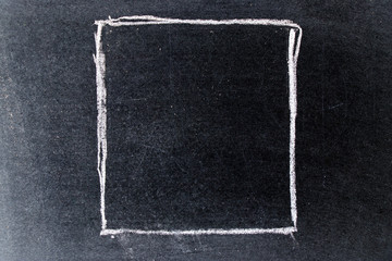 White chalk drawing in blank square shape on black board background