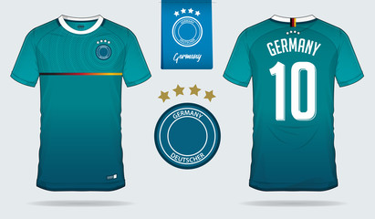 Set of soccer jersey or football kit template design for Germany national football team. Front and back view soccer uniform. Football t shirt mock up. Vector Illustration