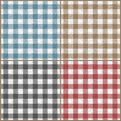 Set of tartan plaid fabric on white seamless pattern, vector