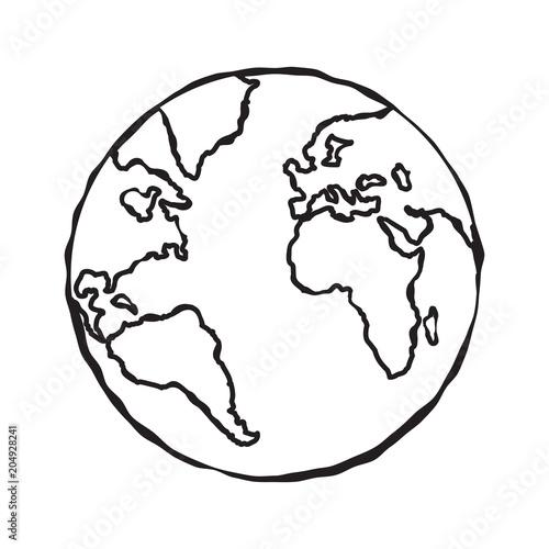 Single black sketch of earth globe illustration  Planet