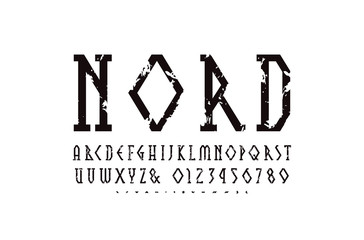 Decorative geometric narrow slab serif font