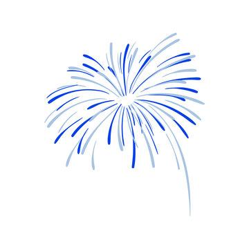 Hand Drawn Firework Explosion, Blue Cracker, Vector.