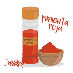 Vector red pepper illustration isolated in cartoon style. Spanish name. Herbs and Species Series