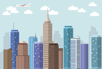 Vector flat big city landscape with blue sky, clouds and plane