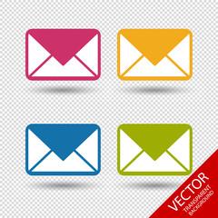 Briefumschlag Symbole - Farbige Vektor Illustration - Freigestellt auf transparentem Hintergrund