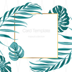 Rectangular square golden border frame decorated with fern greenery. Exotic tropical forest jungle green palm tree monstera leaves. Minimalistic simple clean card template with text placeholder.