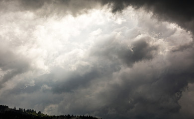 Dark sky with dramatic clouds before rain