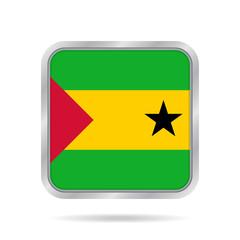 Sao Tome and Principe Flag.Metallic square button.