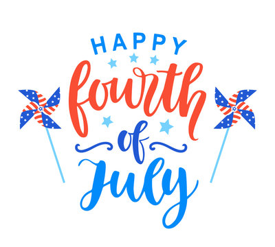 Fourth of July poster with hand written ink lettering