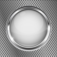 White button with chrome frame. Round glass shiny 3d icon on metal perforated background