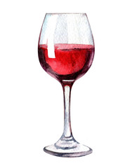 Glass of red wine isolated on white background, watercolor illustration