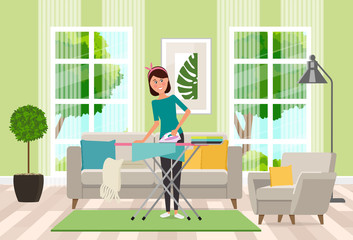 A housewife ironing clothes ironing on the ironing board. Vector flat illustration.