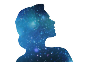 mindfulness and harmony concept - silhouette of woman over blue space background