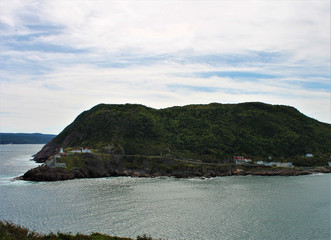 Looking from Signal Hill, across the Narrows to Fort Amherst, St. John's, Newfoundland Labrador, Canada.
