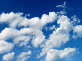 Blush blue sky with beautiful white clouds, summer sky photo. Stratocumulus, Cumulus mediocris, weather forecast.