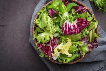 Salad mix with rucola. Fresh vegetable salad, healthy food, salad leaves.
