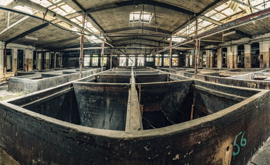 Abandonde factory indoor basins